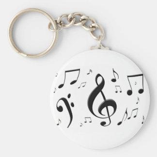 Bulging Music Notes Keychain