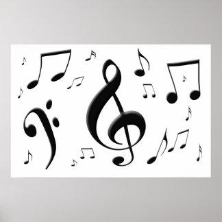 Bulging Music Notes Poster