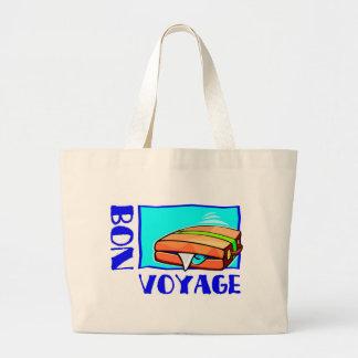"Bulging suitcase full of luggage: ""Bon Voyage!"" Tote Bags"