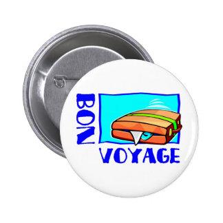 "Bulging suitcase full of luggage: ""Bon Voyage!"" Button"