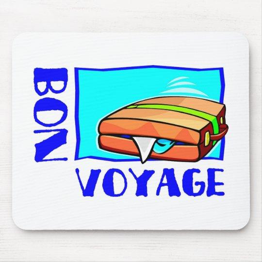 """Bulging suitcase full of luggage: """"Bon Voyage!"""" Mouse Pad"""