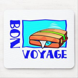 """Bulging suitcase full of luggage: """"Bon Voyage!"""" Mousepad"""
