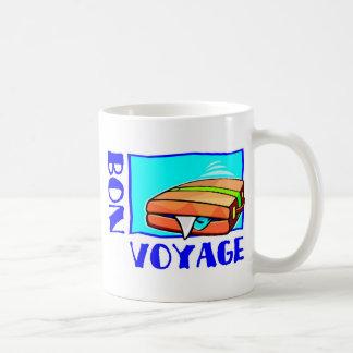 """Bulging suitcase full of luggage: """"Bon Voyage!"""" Mug"""
