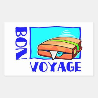 """Bulging suitcase full of luggage: """"Bon Voyage!"""" Rectangle Sticker"""