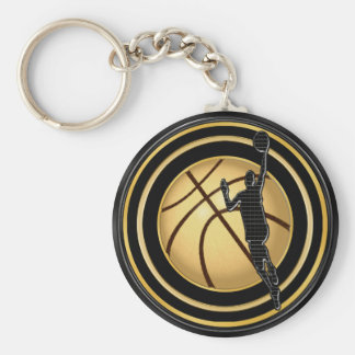 BULK Basketball Favors Black and Gold Basketball Keychain