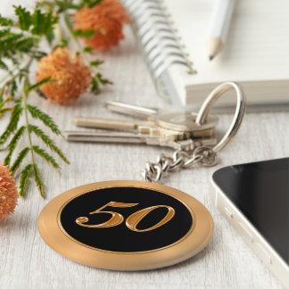 BULK Cheap 50 Anniversary Keychains Gold  Black