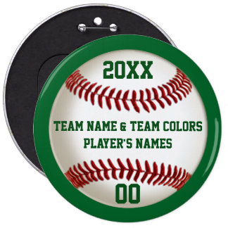 BULK Personalized Baseball Pins, Colors and Text Button