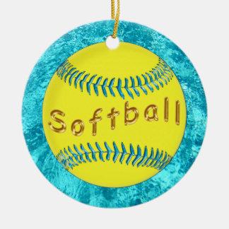 Bulk Softball Ornaments Cute faux Turquoise Glass