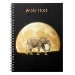 Bull African Elephant Against Full Moon Notebook