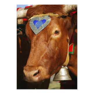 Bull and bell 5x7 paper invitation card