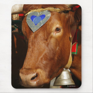 Bull and bell mouse pad