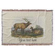 Bull and Cow Elk by John James Audubon Throw Blanket
