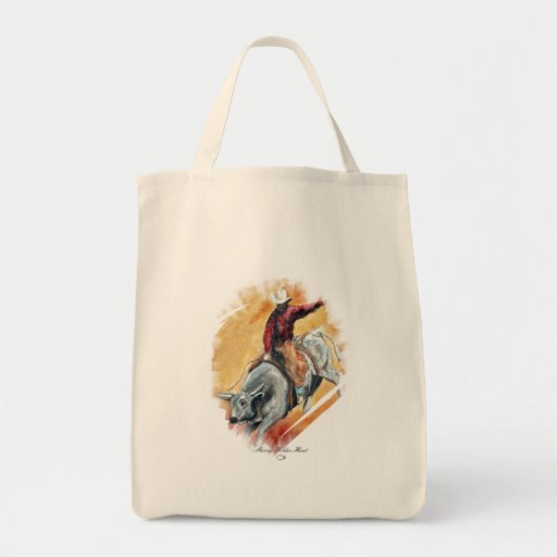 BULL AND RIDER GROCERY TOTE BAG