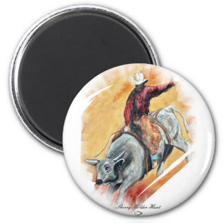 BULL AND RIDER 2 INCH ROUND MAGNET