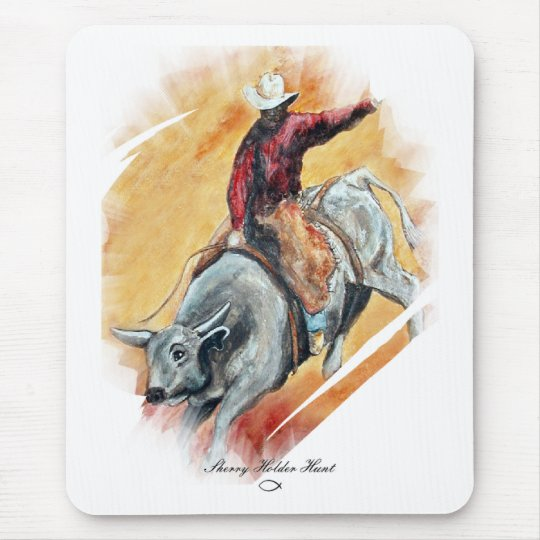 BULL AND RIDER MOUSE PAD
