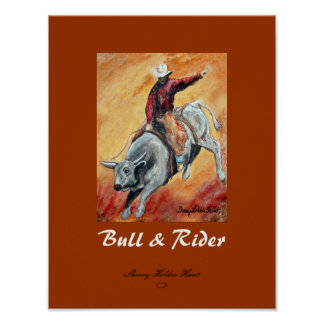 Bull and Rider Print - Customized