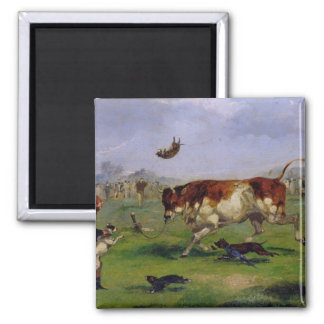 Bull Baiting (oil on paper laid on panel) 2 Inch Square Magnet