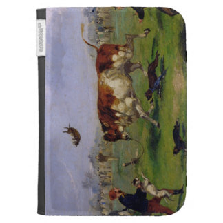 Bull Baiting (oil on paper laid on panel) Case For Kindle