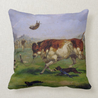 Bull Baiting (oil on paper laid on panel) Pillow