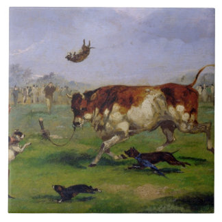 Bull Baiting (oil on paper laid on panel) Large Square Tile