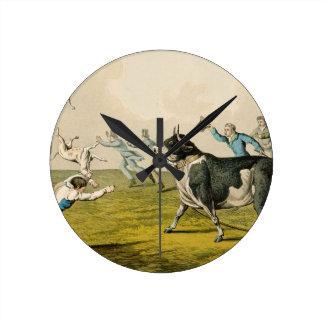 'Bull Baiting', pub. by Thomas McLean, 1820, (prin Round Wall Clock