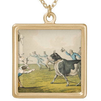 'Bull Baiting', pub. by Thomas McLean, 1820, (prin Personalized Necklace