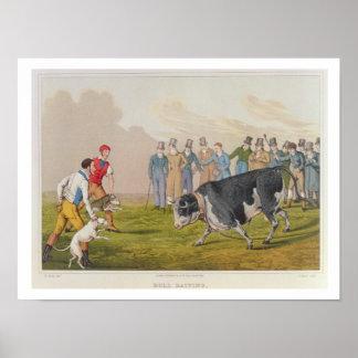 'Bull Baiting', pub.by Thomas McLean, 1820, (print Poster