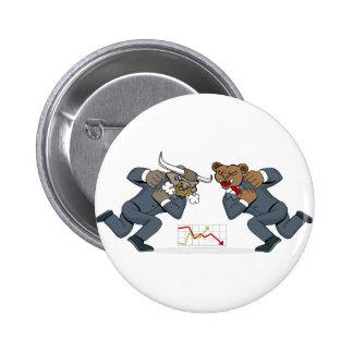 Bull Bear Battle Stock Market Cartoon 2 Inch Round Button