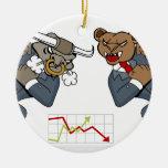 Bull Bear Battle Stock Market Cartoon Ceramic Ornament
