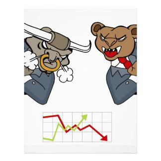 Bull Bear Battle Stock Market Cartoon Letterhead