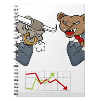 Bull Bear Battle Stock Market Cartoon Notebook