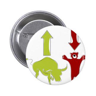 Bull Bear Stock Market Cartoon 2 Inch Round Button