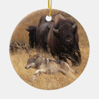 Bull Bison, Female, & Wolf Ceramic Ornament
