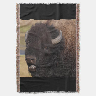 bull bison grunting throw blanket