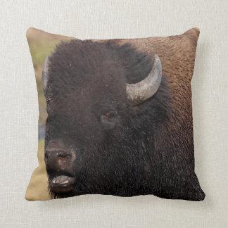 bull bison talking throw pillow
