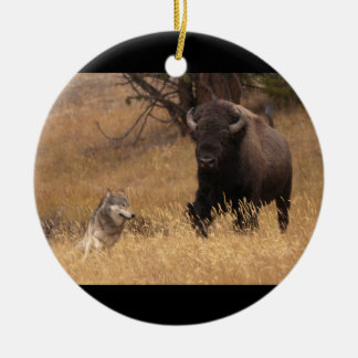 Bull Bison & Wolf Ceramic Ornament