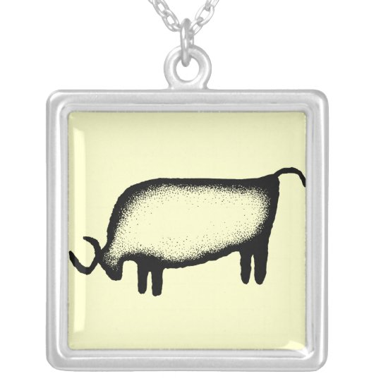 Bull - black silver plated necklace