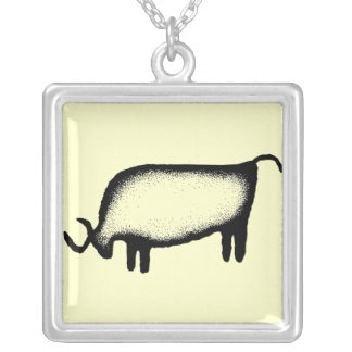 Bull - black square pendant necklace