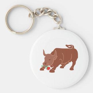 Bull bulletin rose keychain