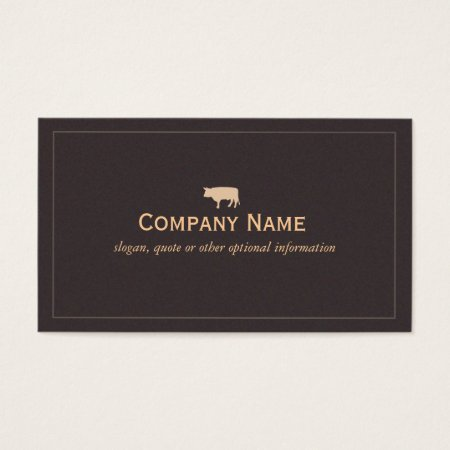 Deep Rick Suede-Like Brown Bull Symbol Profile Card Cattle Farming Business Cards