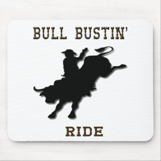"""""""Bull Bustin' Ride"""" Western Rodeo Mousepad"""