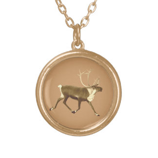Bull Caribou - Sepia Personalized Necklace
