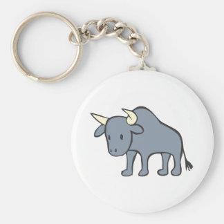 Bull Cartoon Basic Round Button Keychain