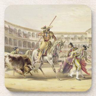 Bull Charging a Picador, 1865 (colour litho) Coaster