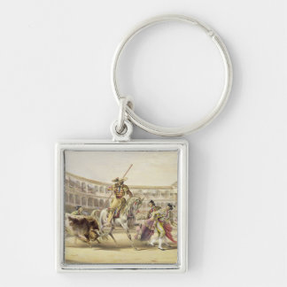 Bull Charging a Picador, 1865 (colour litho) Keychain
