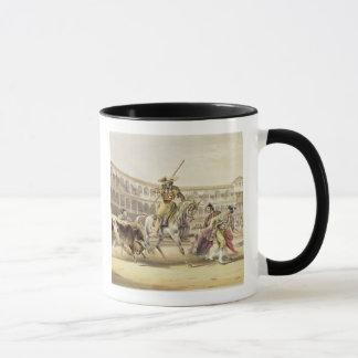 Bull Charging a Picador, 1865 (colour litho) Mug