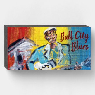 Bull City Blues Wooden Box Sign