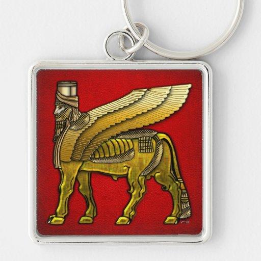 Bull coa alas babilónico Lamassu Llavero Personalizado