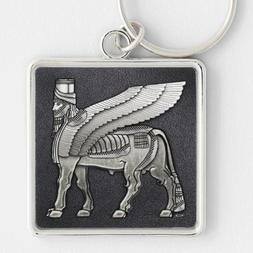 Bull coa alas babilónico Lamassu Llavero