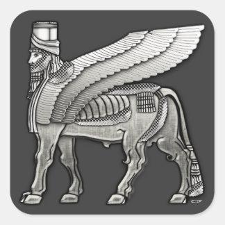 Bull coa alas babilónico Lamassu Pegatina Cuadradas Personalizada
